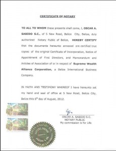 Certificate of Notary